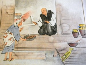According to legend, the 14th c. Emperor Kogan retired from his brief reign to become a monk, and played a role in the development of natto production in Japan's temples. Here a woman presents him with some soybeans which have fermented into natto.
